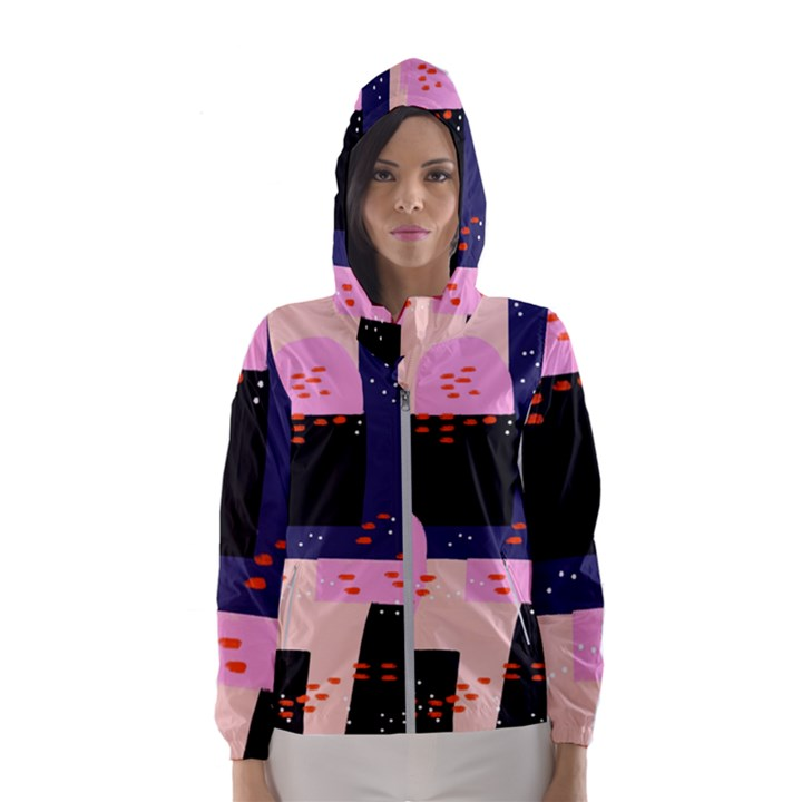 Vibrant Tropical Dot Patterns Women s Hooded Windbreaker