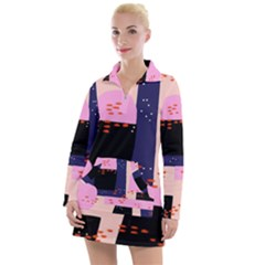 Vibrant Tropical Dot Patterns Women s Long Sleeve Casual Dress