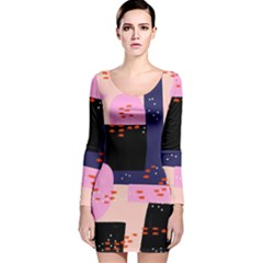 Vibrant Tropical Dot Patterns Long Sleeve Velvet Bodycon Dress