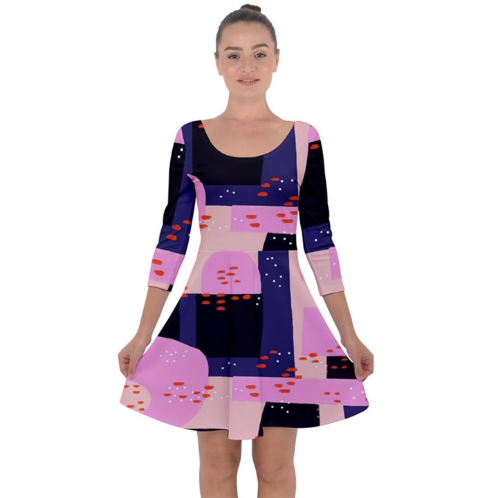 Vibrant Tropical Dot Patterns Quarter Sleeve Skater Dress
