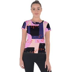 Vibrant Tropical Dot Patterns Short Sleeve Sports Top