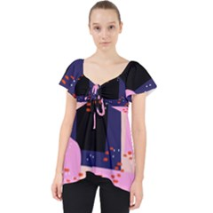 Vibrant Tropical Dot Patterns Lace Front Dolly Top