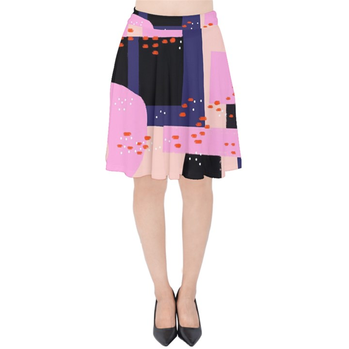 Vibrant Tropical Dot Patterns Velvet High Waist Skirt