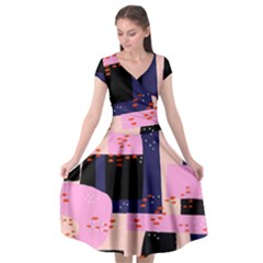 Vibrant Tropical Dot Patterns Cap Sleeve Wrap Front Dress