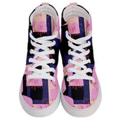 Vibrant Tropical Dot Patterns Women s Hi Top Skate Sneakers
