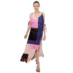 Vibrant Tropical Dot Patterns Maxi Chiffon Cover Up Dress
