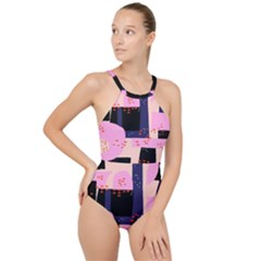 Vibrant Tropical Dot Patterns High Neck One Piece Swimsuit