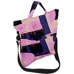 Vibrant Tropical Dot Patterns Fold Over Handle Tote Bag by Vaneshart