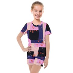 Vibrant Tropical Dot Patterns Kids  Mesh Tee And Shorts Set by Vaneshart