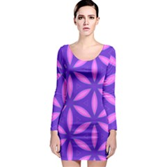 Pattern Texture Backgrounds Purple Long Sleeve Bodycon Dress