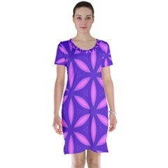 Pattern Texture Backgrounds Purple Short Sleeve Nightdress