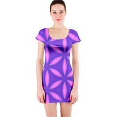 Pattern Texture Backgrounds Purple Short Sleeve Bodycon Dress