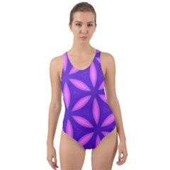 Pattern Texture Backgrounds Purple Cut-Out Back One Piece Swimsuit