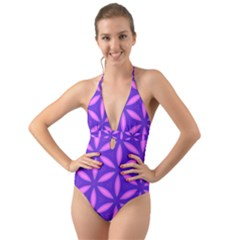 Pattern Texture Backgrounds Purple Halter Cut-Out One Piece Swimsuit