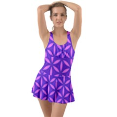 Pattern Texture Backgrounds Purple Ruffle Top Dress Swimsuit