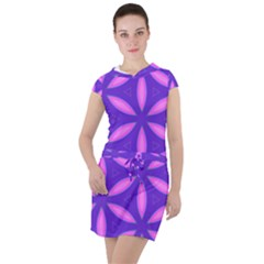 Pattern Texture Backgrounds Purple Drawstring Hooded Dress