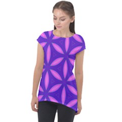 Pattern Texture Backgrounds Purple Cap Sleeve High Low Top