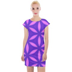 Pattern Texture Backgrounds Purple Cap Sleeve Bodycon Dress