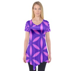 Pattern Texture Backgrounds Purple Short Sleeve Tunic
