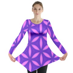 Pattern Texture Backgrounds Purple Long Sleeve Tunic