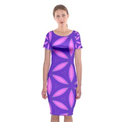 Pattern Texture Backgrounds Purple Classic Short Sleeve Midi Dress