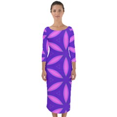 Pattern Texture Backgrounds Purple Quarter Sleeve Midi Bodycon Dress