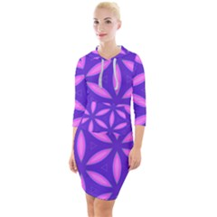 Pattern Texture Backgrounds Purple Quarter Sleeve Hood Bodycon Dress