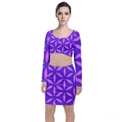 Pattern Texture Backgrounds Purple Top and Skirt Sets