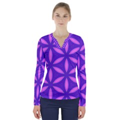 Pattern Texture Backgrounds Purple V-Neck Long Sleeve Top