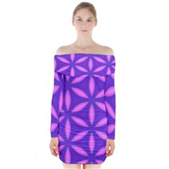 Pattern Texture Backgrounds Purple Long Sleeve Off Shoulder Dress