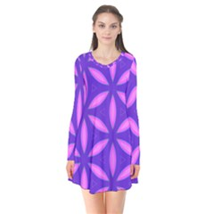 Pattern Texture Backgrounds Purple Long Sleeve V-neck Flare Dress