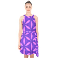 Pattern Texture Backgrounds Purple Halter Collar Waist Tie Chiffon Dress by HermanTelo