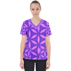 Pattern Texture Backgrounds Purple Women s V-Neck Scrub Top