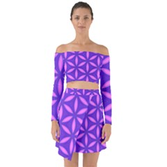 Pattern Texture Backgrounds Purple Off Shoulder Top with Skirt Set