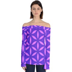 Pattern Texture Backgrounds Purple Off Shoulder Long Sleeve Top