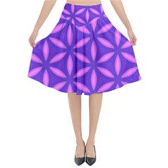 Pattern Texture Backgrounds Purple Flared Midi Skirt