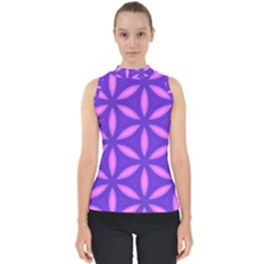 Pattern Texture Backgrounds Purple Mock Neck Shell Top