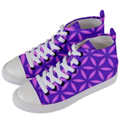 Pattern Texture Backgrounds Purple Women s Mid-Top Canvas Sneakers