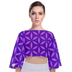 Pattern Texture Backgrounds Purple Tie Back Butterfly Sleeve Chiffon Top