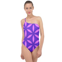 Pattern Texture Backgrounds Purple Classic One Shoulder Swimsuit