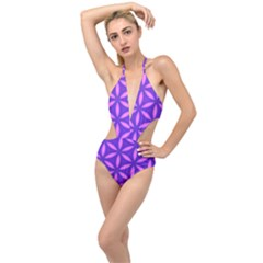 Pattern Texture Backgrounds Purple Plunging Cut Out Swimsuit
