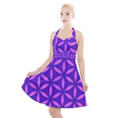 Pattern Texture Backgrounds Purple Halter Party Swing Dress