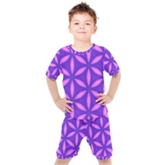 Pattern Texture Backgrounds Purple Kids  Tee and Shorts Set