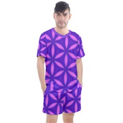 Pattern Texture Backgrounds Purple Men s Mesh Tee and Shorts Set