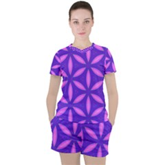 Pattern Texture Backgrounds Purple Women s Tee and Shorts Set