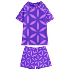 Pattern Texture Backgrounds Purple Kids  Swim Tee and Shorts Set