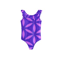 Pattern Texture Backgrounds Purple Kids  Frill Swimsuit