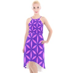 Pattern Texture Backgrounds Purple High-Low Halter Chiffon Dress