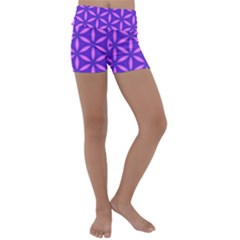 Pattern Texture Backgrounds Purple Kids  Lightweight Velour Yoga Shorts