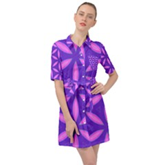 Pattern Texture Backgrounds Purple Belted Shirt Dress